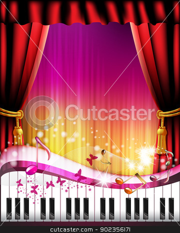 Piano keys with red curtain stock vector clipart, Piano keys with red curtain, butterflies and stars  by Merlinul