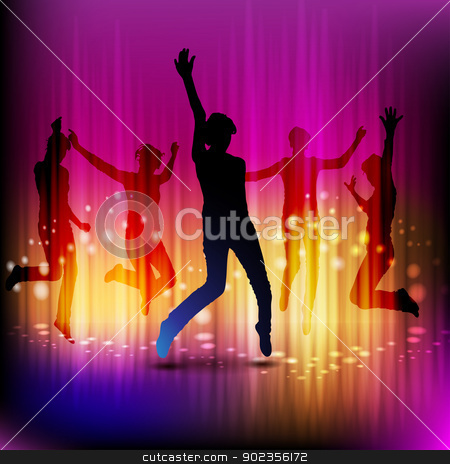 Dancing silhouettes stock vector clipart, Dancing silhouettes with disco lights  by Merlinul