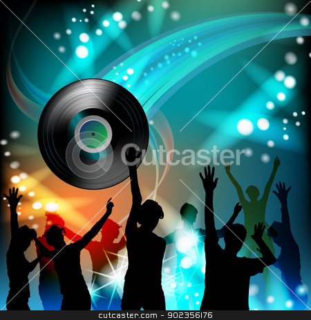 Vinyl recod with silhouettes stock vector clipart, Dancing silhouettes with disco lights  by Merlinul