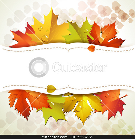 Background with leaves  stock vector clipart, White background with autumn colorful leaves  by Merlinul