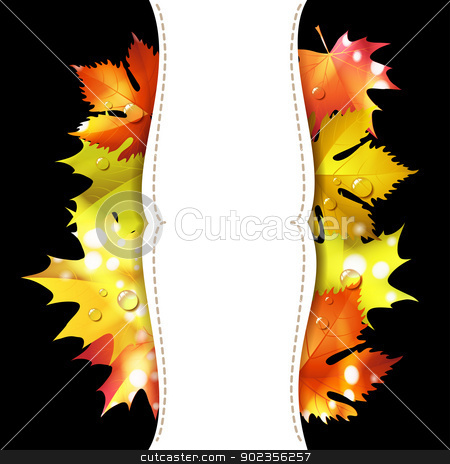 Black background with leaves stock vector clipart, Black background with autumn colorful leaves  by Merlinul