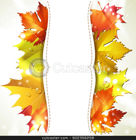 Background with leaves stock vector clipart, Background with autumn colorful leaves  by Merlinul