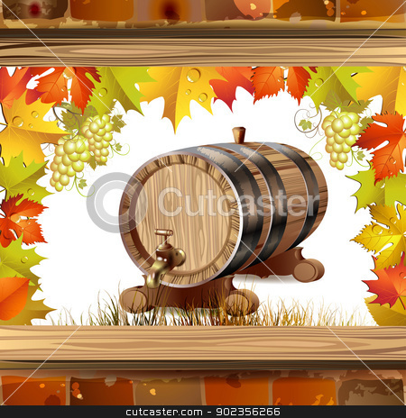 Wood barrel for wine stock vector clipart, Wood barrel for wine with autumn colorful leaves and grapes by Merlinul