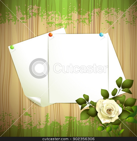 Sheets of paper stock vector clipart, Wood background with sheets of paper and white rose by Merlinul