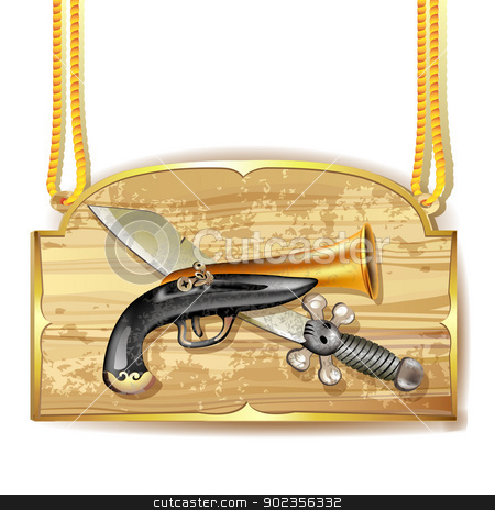 Pirate sword and gun stock vector clipart, Pirate sword and gun over wood banner by Merlinul