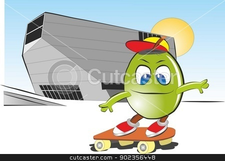 Skate stock vector clipart, Vector and cartoon illustration, grape skating by kancela