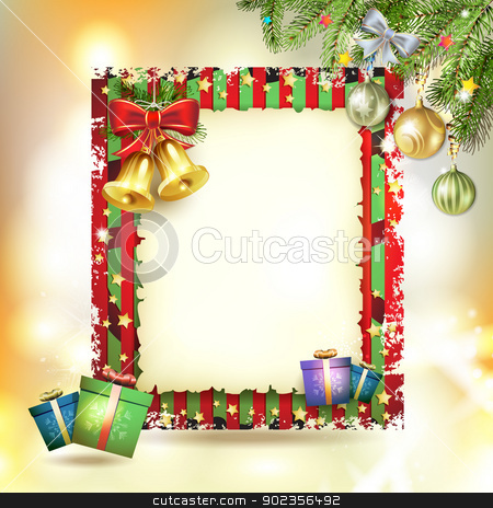 Christmas card stock vector clipart, Christmas card with bell and old paper by Merlinul