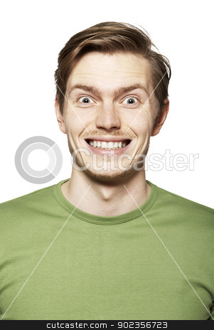 Portrait Of Young Man stock photo, Portrait of young man. Facial expression. Funny face. by Filip Warulik