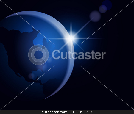 Rising sun over the Earth stock vector clipart, Illustration of rising sun over the Earth with an empty space for text by Allaya