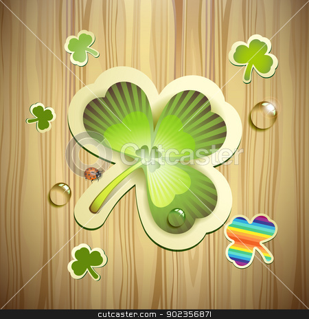 Saint Patrick's Day card stock vector clipart, Saint Patrick's Day card with clover and wood background by Merlinul