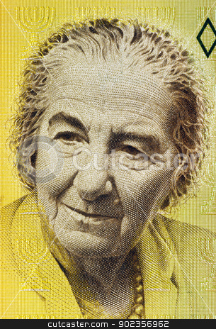 Golda Meir stock photo, Golda Meir (1898-1978) on 10 New Sheqalim 1992 Banknote from Israel. 4th Prime Minister of Israel. by Georgios Kollidas