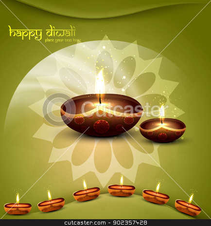happy diwali green beautiful card vector  stock vector clipart, happy diwali green beautiful card vector  by bharat pandey