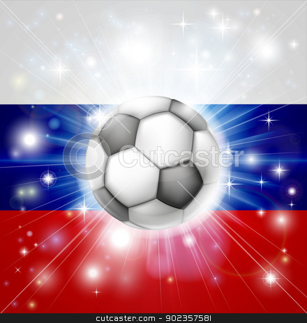 Russian soccer flag stock vector clipart, Flag of Russia soccer background with pyrotechnic or light burst and soccer football ball in the centre  by Christos Georghiou