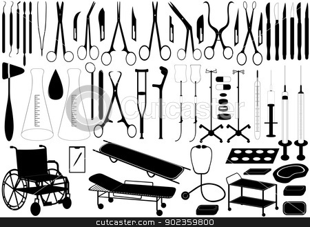 Medical tools stock vector clipart, Illustration of different medical tools isolated on white by Smultea Simona
