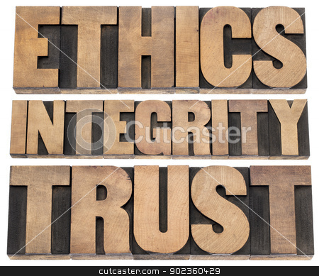 ethics, integrity, trust stock photo, ethics, integrity, trust word - a collage of isolated text in vintage letterpress wood type printing blocks by Marek Uliasz