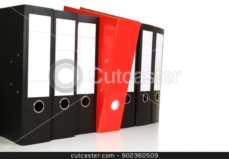 Office stock photo, Image of black and red folders on a table in the office by zuzanaderek