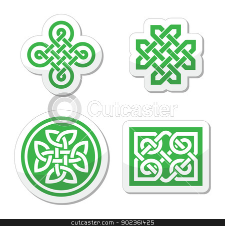Celtic knots patterns - vector stock vector clipart, Set od traditional Celtic symbols, knots, braids as labels by Agnieszka Bernacka