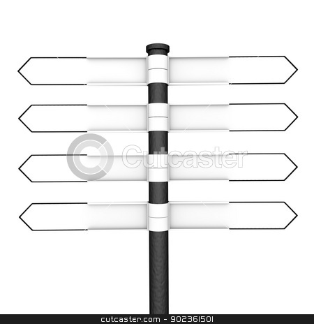 Signpost stock photo, Directional post with eight blank pointers, four in each direction by Harvepino