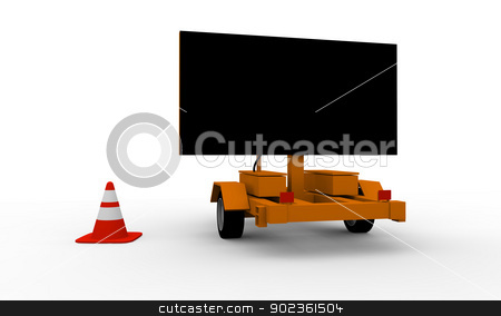 Roadworks cart with signboard stock photo, Blank black signboard on the top of a roadworks cart by Harvepino