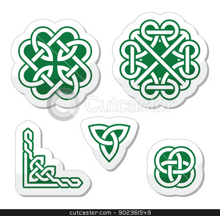 Celtic green knots patterns - vector stock vector clipart, Set od traditional Celtic symbols, knots, braids as labels by Agnieszka Murphy
