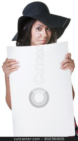 Young Lady Holding Sign stock photo, Cheerful young lady with hat holding white poster by Scott Griessel