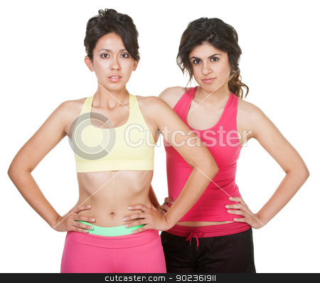 Cute Hispanic Workout Girls stock photo, Cute Latina sisters in workout clothes on white background by Scott Griessel