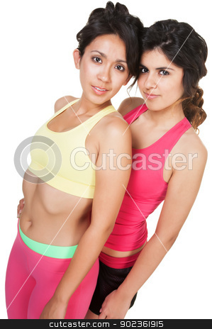 Female Athletic Friends stock photo, Two pretty young athletic women on isolated background by Scott Griessel