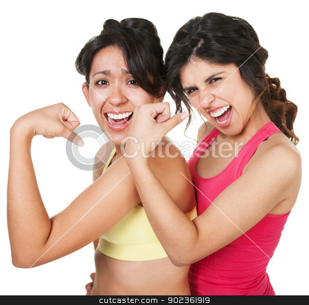 Confident Fit Women Flexing stock photo, Giggling young athletic women flexing their biceps by Scott Griessel