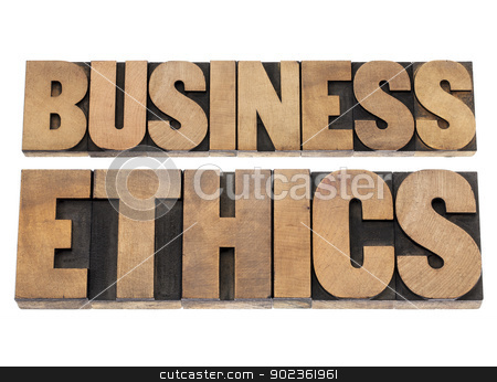 business ethics stock photo, business ethics - isolated text in letterpress wood type printing blocks by Marek Uliasz