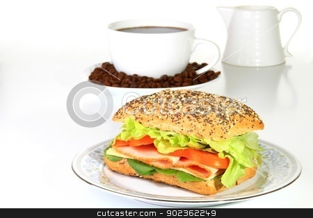 Sandwich stock photo, Image of a tasty sandwich with ham and lettuce  by zuzanaderek