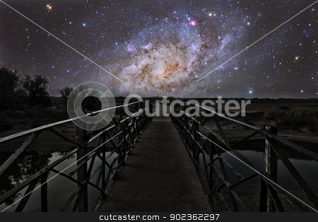 Bridge to the stars stock photo, Bridge on a distant planet near the triangulum galaxy by Reinhold Wittich