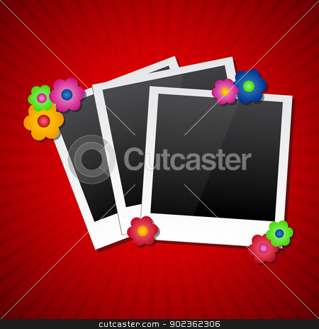 Photo frames with colored flowers stock vector clipart, Photo frames with colored flowers by kurkalukas