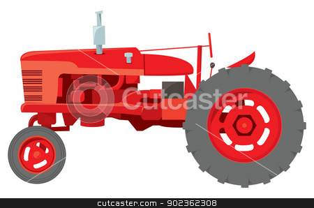 Classic Farm Tractor stock vector clipart, A classic generic farm tractor typically found in american rural areas. by Jamie Slavy
