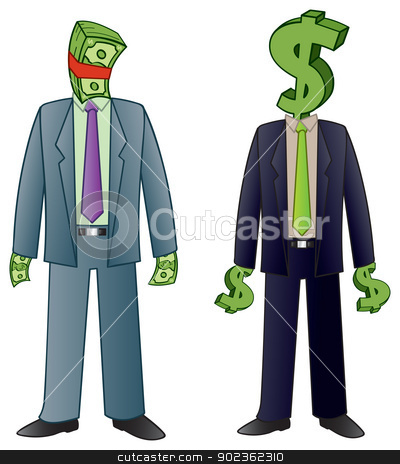 Made of Money stock vector clipart, Two business men that are made of of money and dollar signs literally representing the phrase