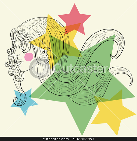 Woman profile sketch stock vector clipart, Hand drawn woman face sketch with transparent stars. EPS10 file version. This illustration contains transparencies and is layered for easy manipulation and custom coloring by Cienpies Design