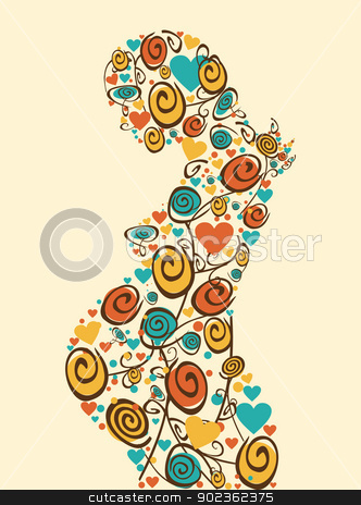 Spring love flowers mother stock vector clipart, Spring pregnant woman flowers and hearts silhouette background. Vector file layered for easy manipulation and coloring. by Cienpies Design