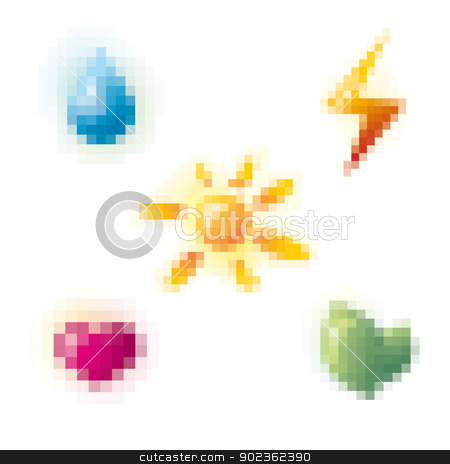 pixel icon set stock vector clipart, abstract pixel style icon set vector illustration by SelenaMay