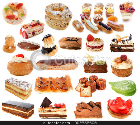 group of cakes stock photo, group of cakes in front of white background by Bonzami Emmanuelle