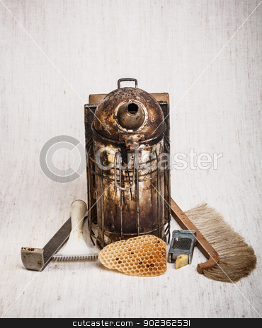 Beekeeping equipment stock photo, Beekeeping equipment on canvas background by Grafvision
