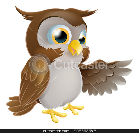 Pointing Owl Character stock vector clipart, An illustration of a cute cartoon owl character pointing or showing something with his wing by Christos Georghiou