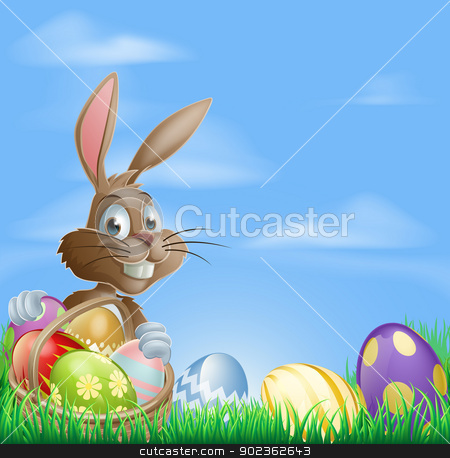 Easter background scene stock vector clipart, Easter background with copyspace in the sky featuring a cute Easter Bunny and lots of painted Easter Eggs by Christos Georghiou