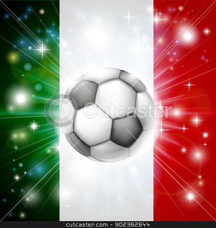 Italy soccer flag stock vector clipart, Flag of Italy soccer background with pyrotechnic or light burst and soccer football ball in the centre  by Christos Georghiou