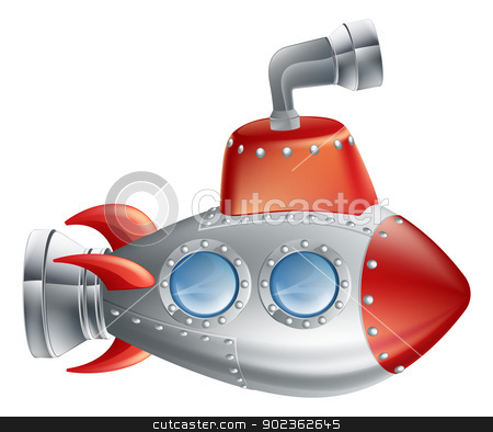 Fun Cartoon Submarine stock vector clipart, An drawing of a cute cartoon submarine in childrens illustration style. by Christos Georghiou