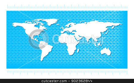 World Map with water waves stock photo, World map with water waves in the style pattern. Illustration for infographic on a blue background. by sermax55
