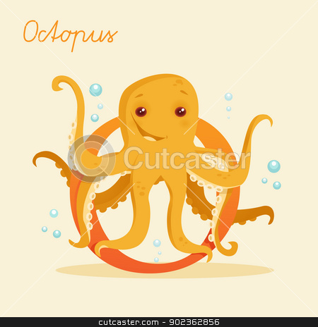Animal alphabet with octopus  stock photo, Animal alphabet with octopus  vector illustration by kariiika