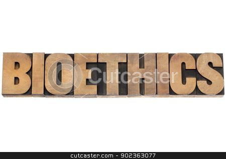 bioethics word in wood type stock photo, bioethics word - isolated text in vintage letterpress wood type printing blocks by Marek Uliasz