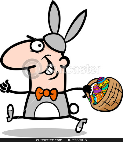 man in easter bunny costume cartoon stock vector clipart, Cartoon Illustration of Funny Man in Easter Bunny Costume running with Easter Eggs in a Basket by Igor Zakowski