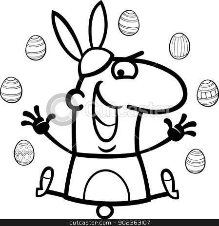 man as easter bunny cartoon for coloring stock vector clipart, Black and White Cartoon Illustration of Funny Man in Easter Bunny Costume with Easter Eggs for Coloring Book by Igor Zakowski