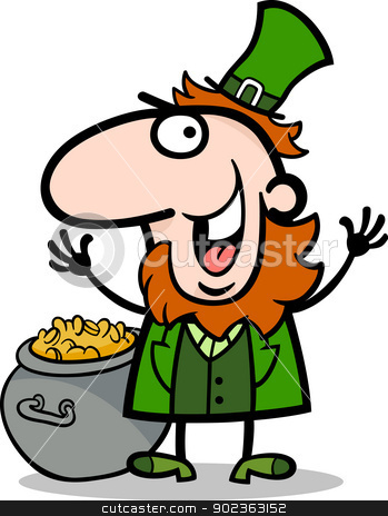 happy Leprechaun cartoon illustration stock vector clipart, Cartoon Illustration of Happy Leprechaun with Pot of Gold on St Patricks Day Holiday by Igor Zakowski