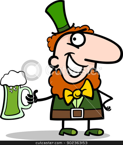 Leprechaun with beer cartoon illustration stock vector clipart, Cartoon Illustration of Happy Leprechaun with Pint of Green Beer on St Patrick Day Holiday by Igor Zakowski